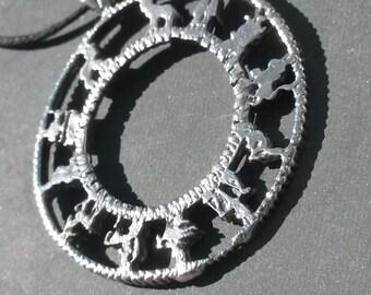White Jewelers Bronze Zodiac Wheel Pendant Necklace charm Astologer's Medallion Amulet Talisman RARE unique metaphysical Metal Jewelry Gift