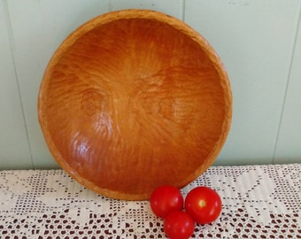 Wooden bowl, wood bowl made of African or South American mahogany, hand chiseled, decorative bowl, rustic fruit bowl, primitive handmade art