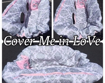 White and grey glitter damask & light Pink minky shopping cart cover reversible