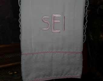 Monogrammed Burp Cloth Great For Christening, Baptismals, and Church