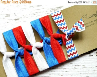 ON SALE 10% OFF 7 pcs Elastic Hair Tie - Memorial Day/4th July - Patriotic Hair Ties - White/Royal Blue/Red and Chevron -Toddler to Adult