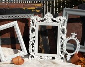 Picture Frame Set - Set Of 5  Upcycled  PICTURE FRAMES - Shabby Chic Decor Frames