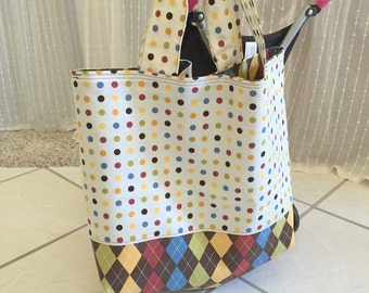 Brown and Off White Reversible Tote Bag