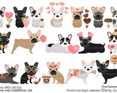 Valentine French bulldogs digital clip art for Personal and Commercial use - INSTANT DOWNLOAD