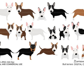 Bull terriers digital clip art for Personal and Commercial use - INSTANT DOWNLOAD