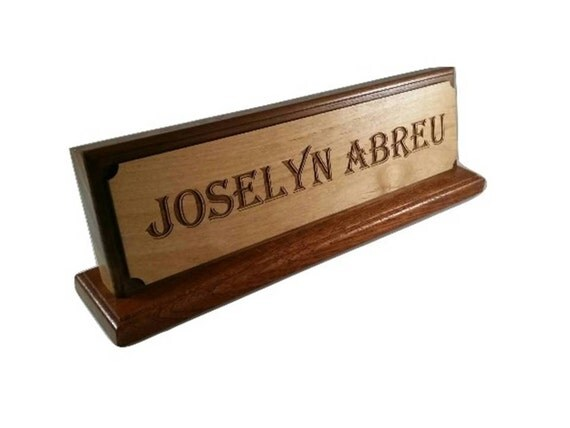 Custom Wood Office Name Plate Sign Plaque Display
