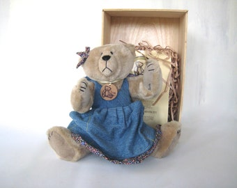 Bonita Bear Katie, Vintage Bonita Bear, Stuffed Bear by Applause, stuffed bear, vintage stuffed bear, vintage Bonita Bear, collectible bear