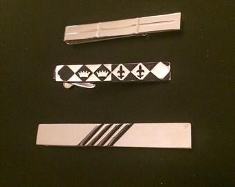Swank Silver Tone Tie Clip Set