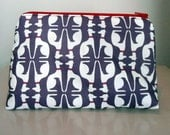 Cosmetic pouch in aubergine whippet fabric