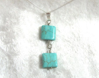 "Delicate Turquoise Pendant, Magnasite Square Turquoise Bead Pendant/Necklace Solid Sterling Silver 925 and 935 with 18"" chain"