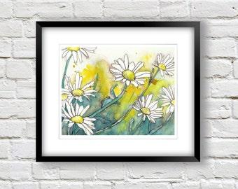 Daisy Flower Painting-  Shasta Daisies- 8x10 Fine Art Print