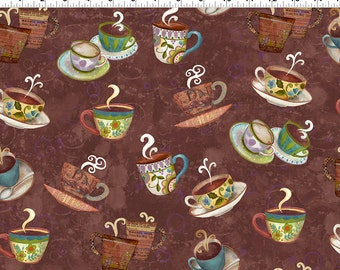 Clothworks Fabric Coffee House Coffee Cups on Brown by Sue Zipkin
