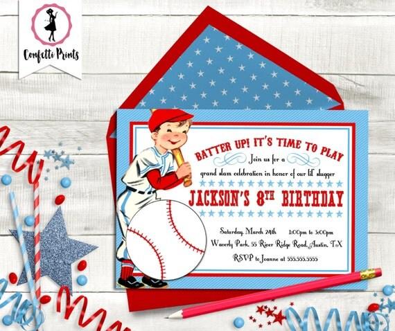 Baseball Birthday Party |  Baseball Baby Shower | Baseball Party | Baseball Theme Party | Vintage Baseball Invitation - BATTER UP Printable