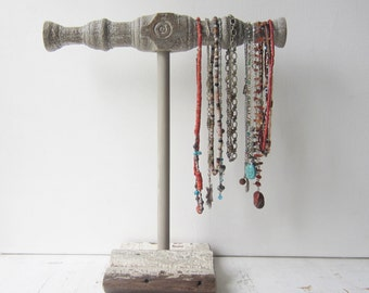 Necklace Holder - Chippy White and Gray Architectural Salvage - Jewelry Storage - Quantities Available - Ready to Ship
