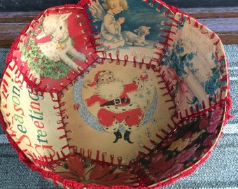 Paper Bowl Made From Vintage Christmas Cards Fastened With Red Embroidery Floss