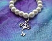 Biolojewelry -Neuron Science Neuroscience Pearl Bracelet