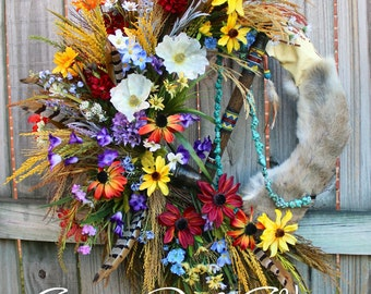 Great Plains Wildflower Native American Indian Wreath, Pheasant feather, rustic floral swag, Fall Wreath, Fall Swag, Tribal Decor