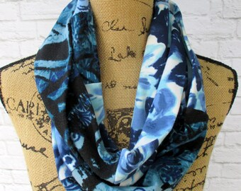 Women's Scarf - Floral Infinity - Feminine Apparel - Handmade Clothing - Navy Cobalt  - Attractive Accessory for Wife - Dressy Casual Attire