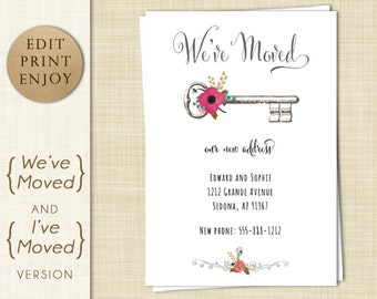 Moving Announcement - We've Moved -  I've Moved - Change of Address  - EDITABLE PDF - Instant Download -  Printable