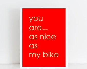 Bicycle Print, Print for Cyclist, Gift for Cyclist, Gift for Mountain Biker, Graphic Print,