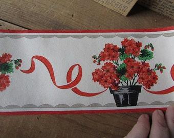 Trimz Vintage Wallpaper Trim Red Geraniums