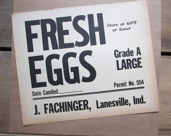 Fresh Eggs Vintage Paper Sign Rustic Farmhouse Decor