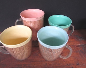 Raffiaware Plastic Coffee Cups Vintage Kitsch Mid Century Thermal Cups