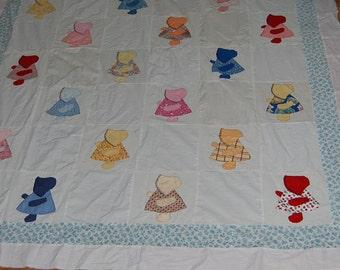 Vintage, quilt, blanket, quilt top, Sun Bonnet Sue, old, classic, 84x67