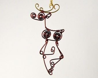 Cute Wire Reindeer in Brown & Gold, With Moving Legs