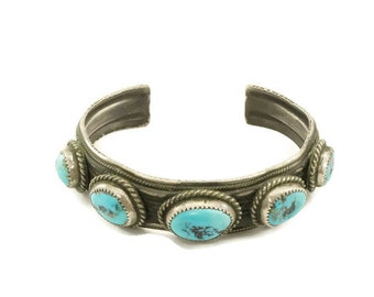 Native American Vintage Turquoise and Silver Cuff Bracelet