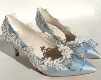Wedding Shoes - Blue Marie Antoinette Bridal Shoes
