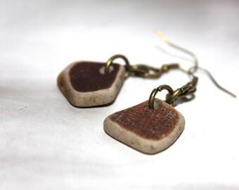 cream brown beach pottery earrings bohemian jewelry statement jewellery sea china mermaid tears