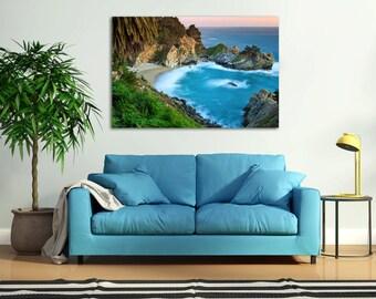 Large Canvas Art, Waterfall Photography, Big Sur California Photo McWay Falls Picture Coastal Decor Beach Artwork Turquoise Teal Blue Orange