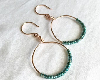 Beaded Hoop Earrings / Rose Gold and Teal / Teal Earrings / Rose Gold Earrings / Teal Hoops / Rose Gold Hoops / Teal and Rose Gold / Drop