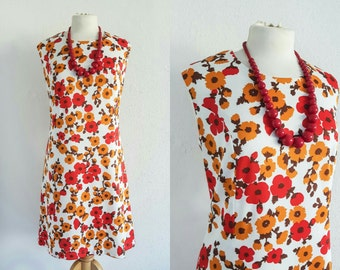 Vintage 60s Floral Mod Dress - Retro Scooter Girl Mini Dress - Trevira Era
