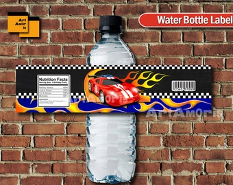 Racing Car water bottle labels, Racing Car labels, Racing Car birthday,  Racing Car water label, Boys party printables TFP-4