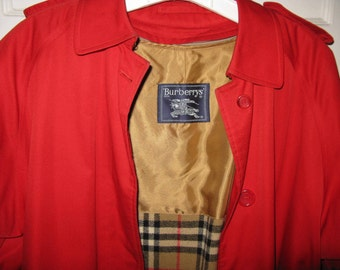 Burberry Trench Coat Women, Vintage Red Rain Coat Jacket Plaid Wool Zip Out Lining, Size 10 XX Long
