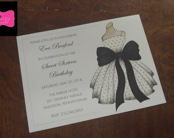INVITATION - Dress with large black bow - great for Bridal Showers, Sweet 16 and more! All wording, fonts, and font colors Customized