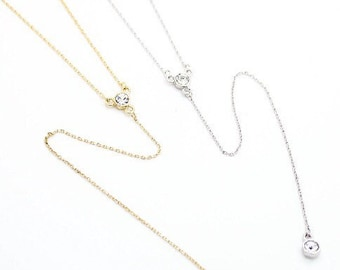 "Tiny Gold or Silver ""Untie Me"" Necklace - Dainty, Simple, Birthday Gift, Wedding Bridesmaid Gift"