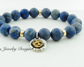 Men's Sterling Silver Eagle Lapis Lazuli Stretch Bracelet