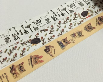 1 Roll Japanese Washi Tape (Pick 1) -Planting Tool, Hedgehog , or Cat