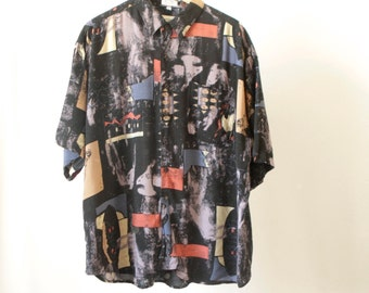 versace style 90s BAROQUE slouchy huge shirt blouse