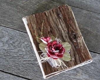 Rustic chic wooden wedding photo 4'' x 6''album, Burlap and lace photo album, Keepsake family or wedding photo 4'' x 6'', Farmhouse wedding