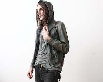 Vintage Hooded Leather Jacket 1980s Green Leather Slim Fit Unisex Grey Punk Grunge Urban Casual