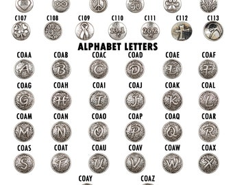 Snap Jewelry Charms. Interchangeable Personalized Snaps, Ginger Snap Noosa Chunk Snap Jewelry Charm Initial Letter Zodiac Alphabet (C001)