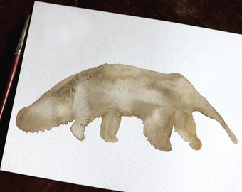Watercolor Custom Single Color Animal Silhouette - 9x12inches