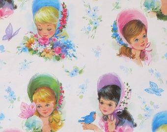 Vintage Laurel Juvenile Gift Wrap - Wrapping Paper - GIRLS in Bonnets with KITTENS, Birds, and Butterflies - 1960s