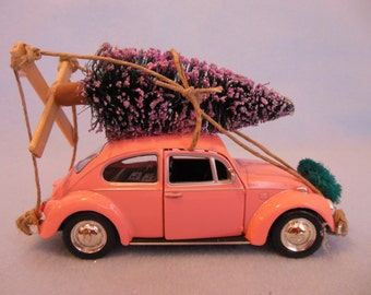 Classic Pink VW Beetle Car with Christmas Tree ~ VW Bug ~ Volkswagen ~ Toy Car Christmas Ornament ~ I'll Be Home For Christmas
