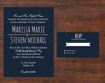 Navy Blue Wedding Invitations; Customized Wedding Invitation; Printable Wedding Invitations; DYI Wedding Invitations
