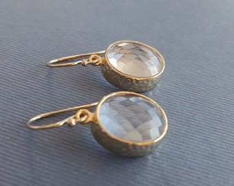 Clear and Gold Drop Earrings - Oval Drops on Gold Filled Earwire - Clear Stone Earrings - Gold Bridesmaid Jewelry, April Birthstone